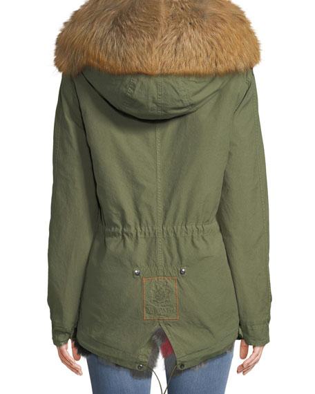 Army Shell Mini Parka with Multi Fur Fox