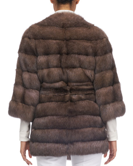 Barguzine Horizontal Sable Fur Stroller Coat