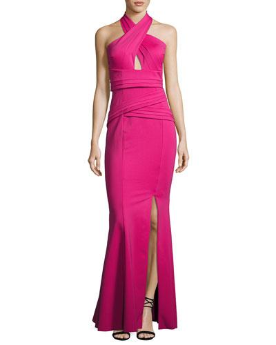 Scuba-Knit Crisscross Halter Gown