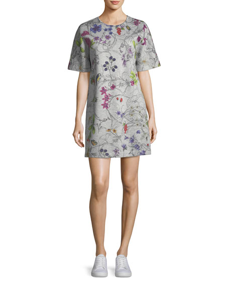 Short-Sleeve Floral-Print Sweatshirt Dress