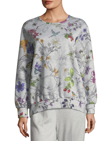 Escada Long-Sleeve Floral-Print Bonded Jersey Sweatshirt and
