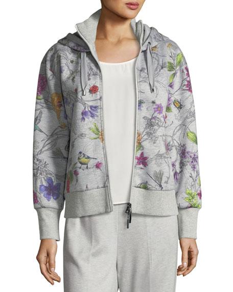 Floral-Print Zip-Front Hoodie