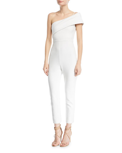 One-Shoulder Straight-Leg Crepe Jumpsuit