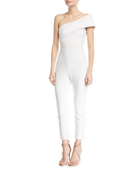 CUSHNIE One-Shoulder Straight-Leg Crepe Jumpsuit
