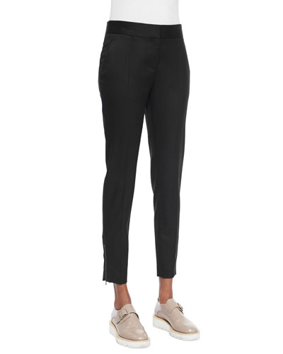 Vivian Skinny Suiting Zip-Cuff Ankle Pants