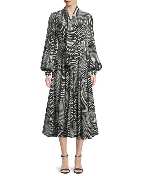 Optical Dots Tie-Collar Blouson-Sleeve Silk Dress with Belt