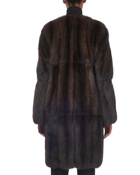 Vertical Sable Fur Stroller Coat