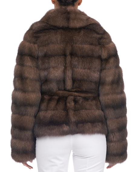 Notched-Collar Belted Sable Fur Jacket