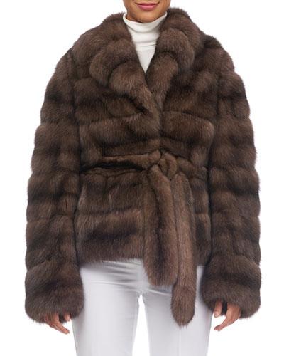 Notched-Collar Belted Sable Fur Jacket