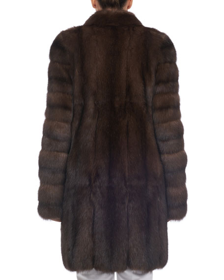 Notched-Collar Sable Fur Stroller Coat
