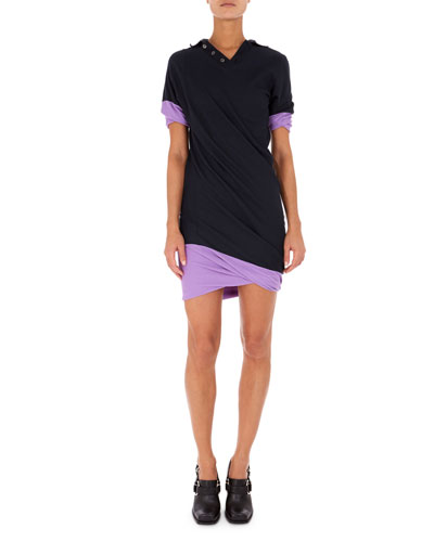 Short-Sleeve Twisted Polo Shirtdress