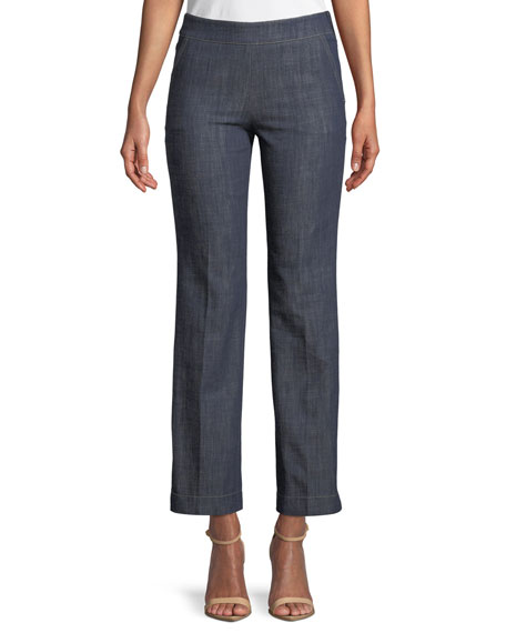 Straight-Leg Crop Denim Trousers with Side Zip
