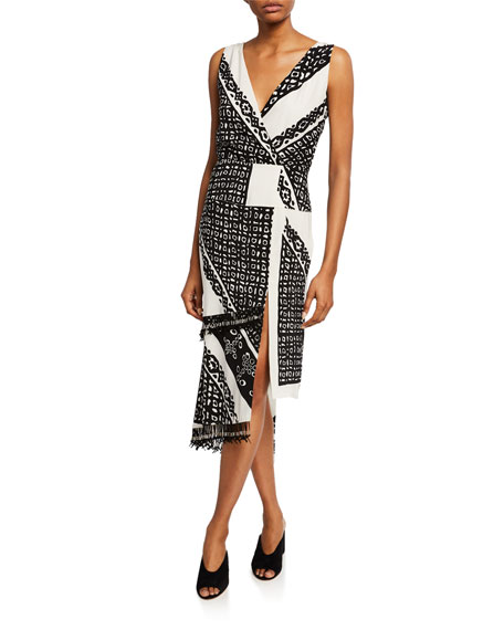 Pavilion Sleeveless Button-Front Bandana-Print Silk Midi Dress