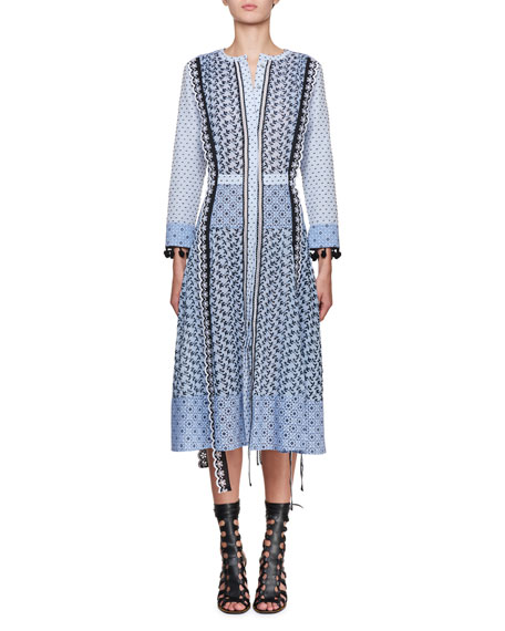 Grenelle Broderie Anglaise-Trimmed Swiss-Dot Cotton And Chiffon Midi Dress, Light Blue from LastCall.com