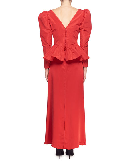 Image 2 of 2: Stella McCartney Nathaly Long-Sleeve V-Neck Peplum-Waist Evening Gown