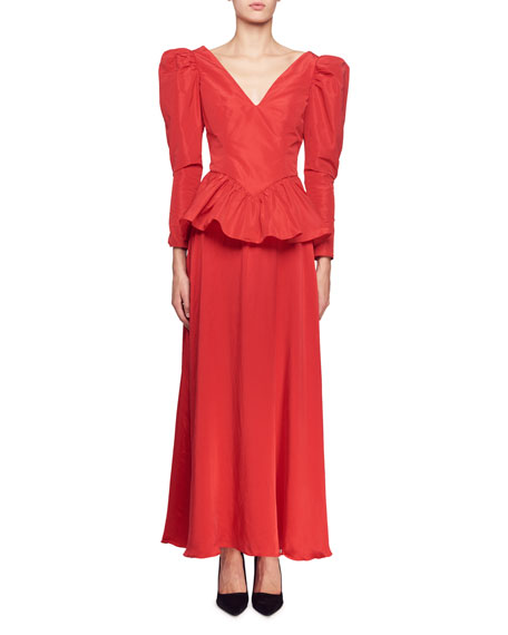 Image 1 of 2: Stella McCartney Nathaly Long-Sleeve V-Neck Peplum-Waist Evening Gown