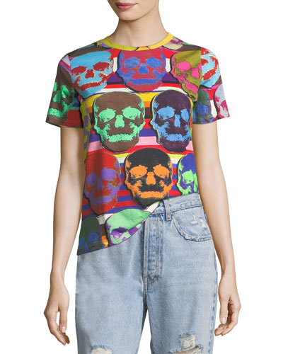 Short-Sleeve Multicolor Skull-Print T-Shirt
