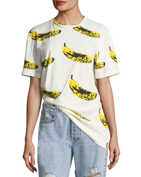 LIBERTINE Crewneck Velvet Banana T-Shirt in White/Yellow