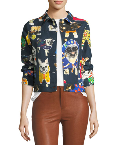 Dog-Print Cropped Jean Jacket