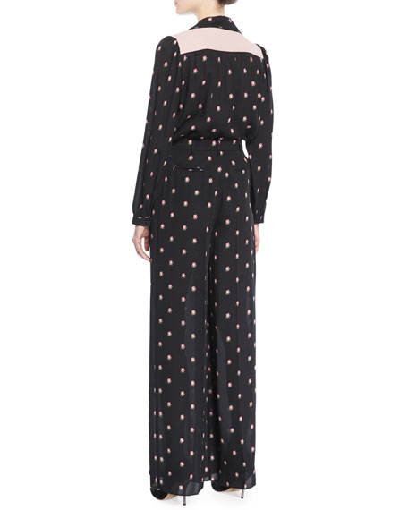 Rosebud-Print Button-Front Pajama Blouse with Contrast Necktie