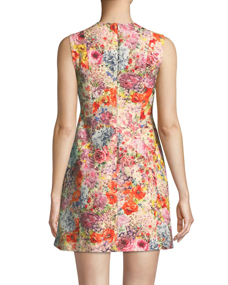 Sleeveless Crepe Fit-and-Flare Floral-Print Dress