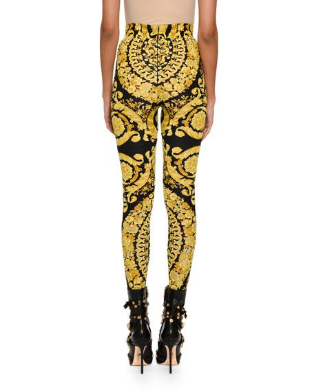 Baroque-Print Stretch Leggings