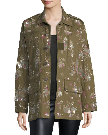 Floral-Embellished Canvas Safari Jacket