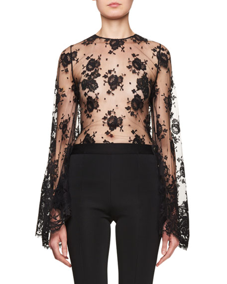 Givenchy Sheer Lace Bell-Sleeve Blouse and Matching Items