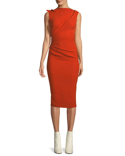 High-Neck Sleeveless Draped Side Slim-Fit Dress