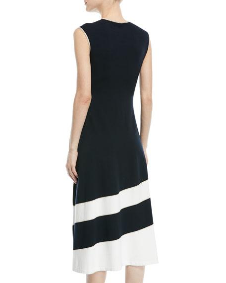 Sleeveless Fit-and-Flare Diagonal-Stripe Midi Dress
