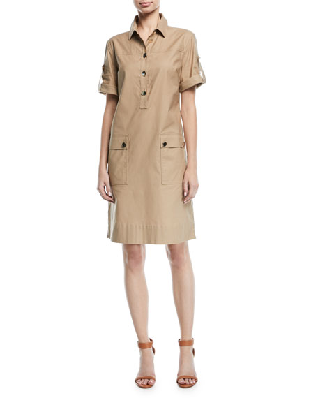 Escada Short-Sleeve Button-Down Safari Shirtdress