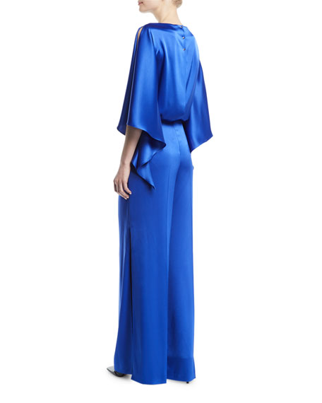Flutter-Sleeve Satin Draped Jumpsuit