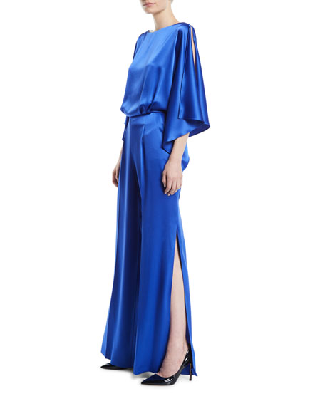 Escada Flutter-Sleeve Satin Draped Jumpsuit