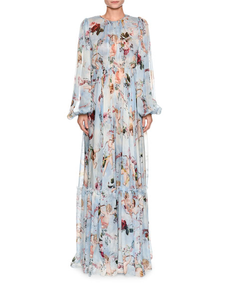 Dolce & Gabbana Long-Sleeve Cherub-Print Chiffon Jumpsuit and