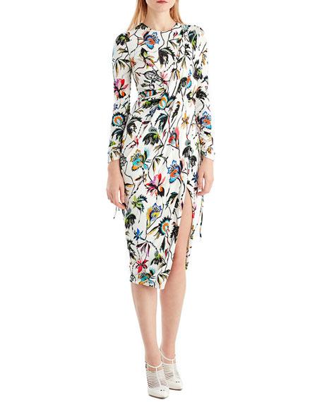 Jason Wu Drawstring-Sleeve Floral-Print Jersey Day Dress w/