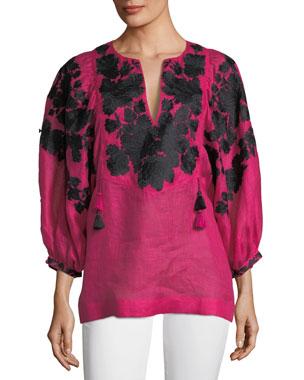 474f6cb93e74f0 Vita Kin Puff-Sleeve Split-Neck Floral-Embroidered Linen Blouse