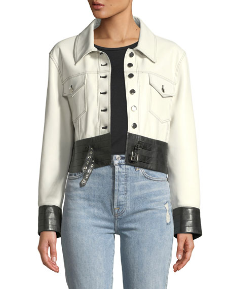 Nour Hammour Button-Front Leather Moto Jacket with Buckle-Hem