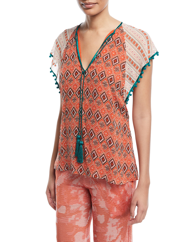 d9c79fb2767 Talitha Collection Almasi-Print Split-Neckline Kimono-Sleeve Frill Silk Top