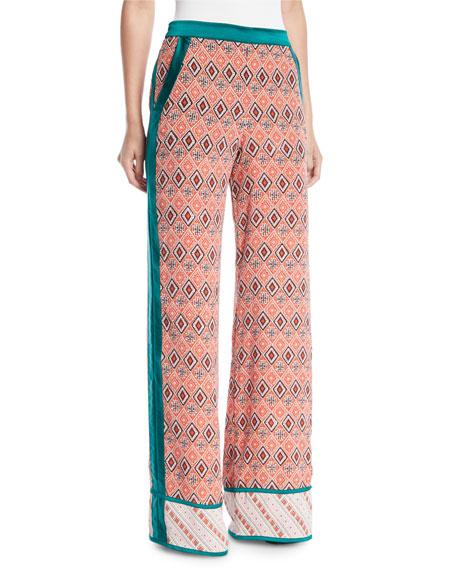 Almasi-Print Wide-Leg Pull-On Trousers