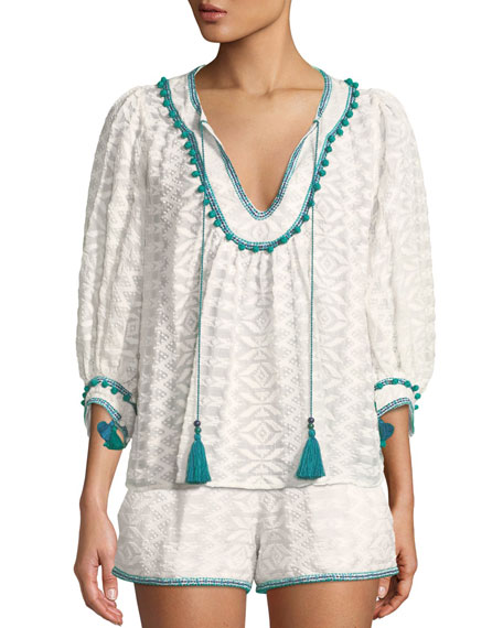 Talitha Collection Zoey Embroidered Tassel-Tie Top