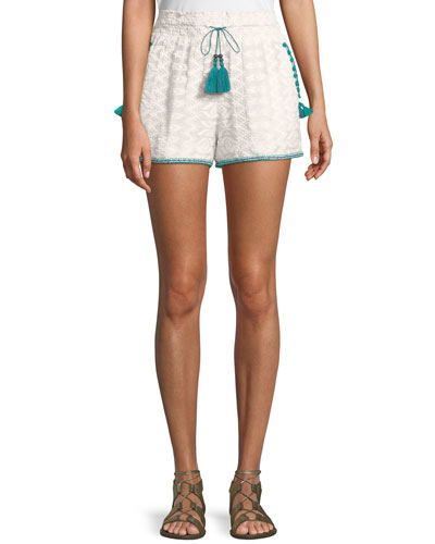 Embroidered Cotton Short with Pompom Trim & Tassel-Ties