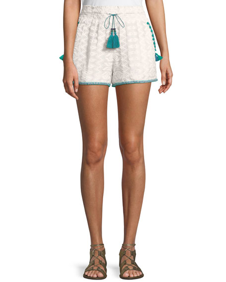 Talitha Collection Embroidered Cotton Short with Pompom Trim