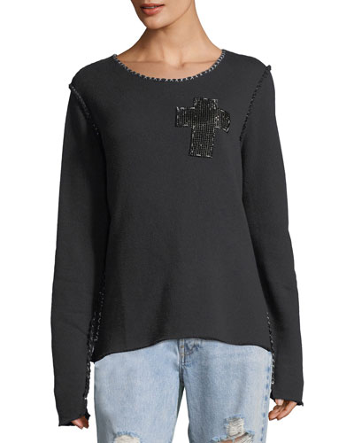 Beaded-Cross Crewneck Sweatshirt