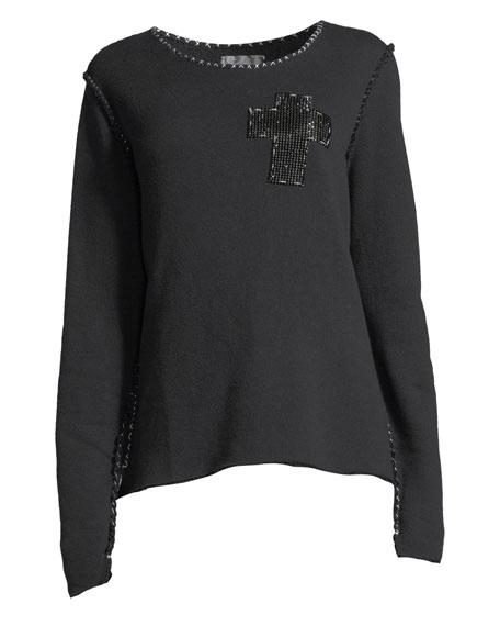 Beaded-Cross Crewneck Sweatshirt