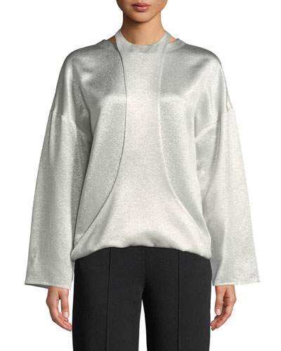 Long-Sleeve Hammered Lamé Blouse w/ Harness