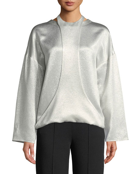 Long-Sleeve Hammered Metallic Blouse w/ Harness