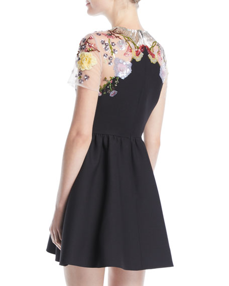 Short-Sleeve Floral-Embroidered Mesh Crepe Couture Cocktail Dress