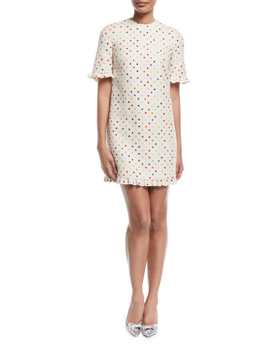 Elbow-Sleeve Polka-Dot Crepe Couture Cocktail Dress