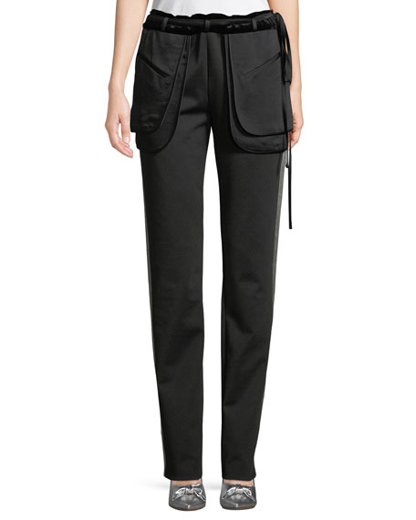 Valentino Inside-Out Pocket Satin Tech Jersey Straight-Leg Pants