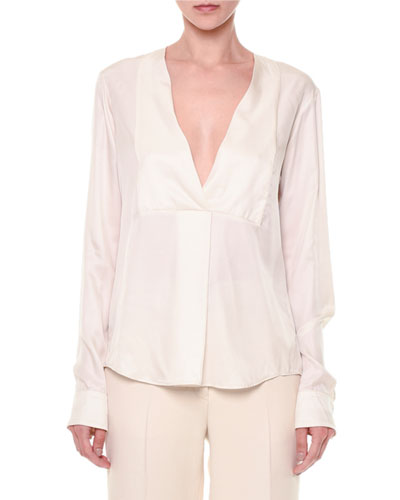 Via Crepe Front-Paneled Blouse